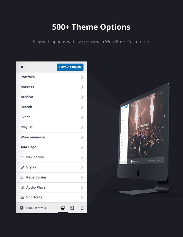 More than 500 theme options