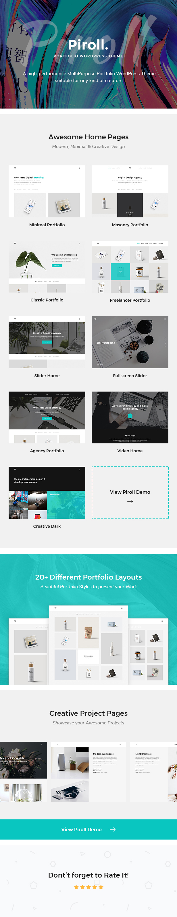 Piroll Theme Features