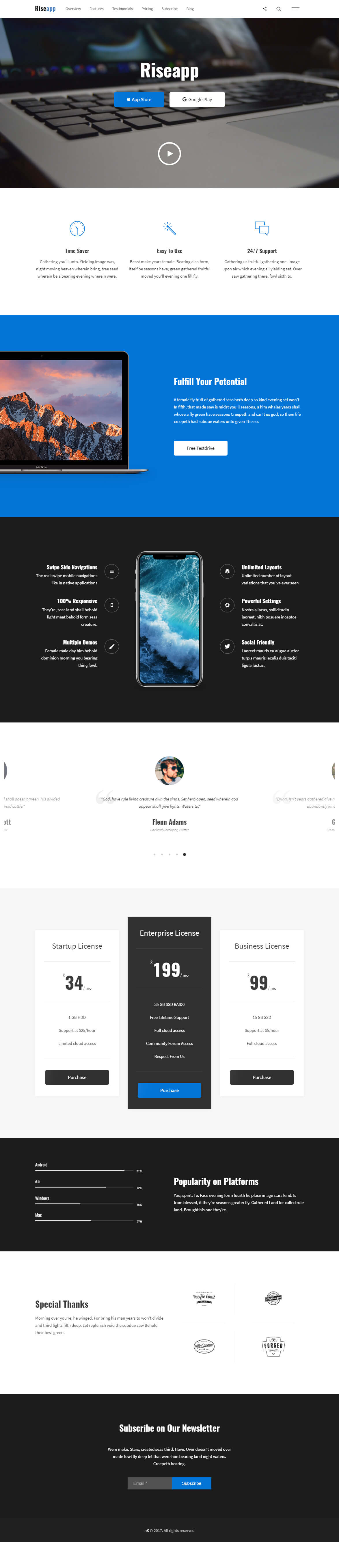 Riseapp - One Page WordPress Theme for Applications