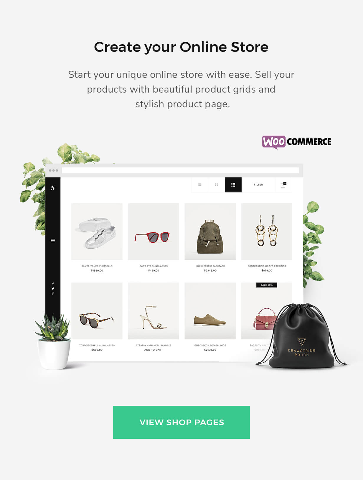 eCommerce supported with WooCommerce