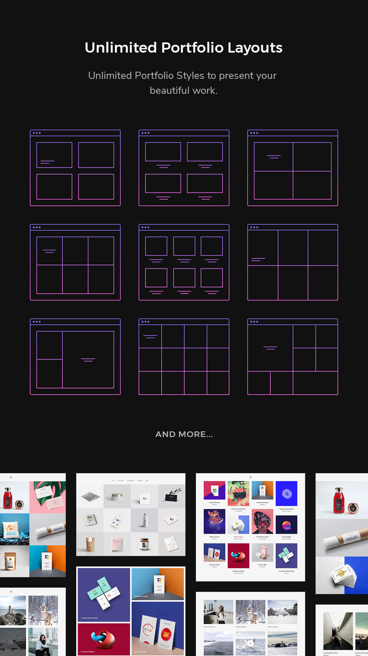 Unlimited portfolio layouts