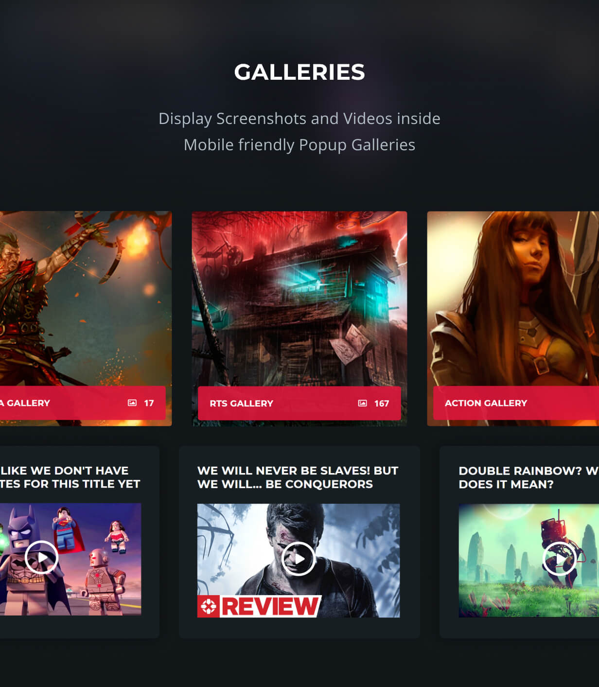 galleries and videos with popup